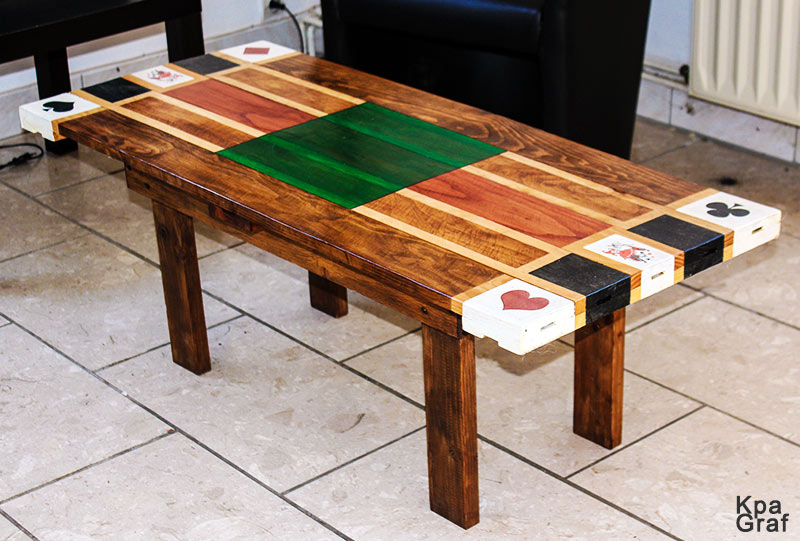 Table basse en bois poker, jeu de cartes